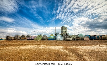 Colorful, Wooden Beach Huts in Whitstable, Kent, England
