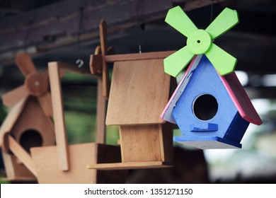 colorful wooden bird house background