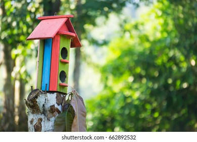 colorful wooden bird house on a tree with text area