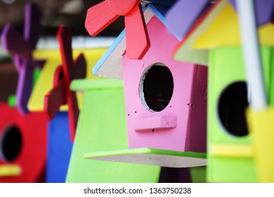 colorful wooden birdhouse background