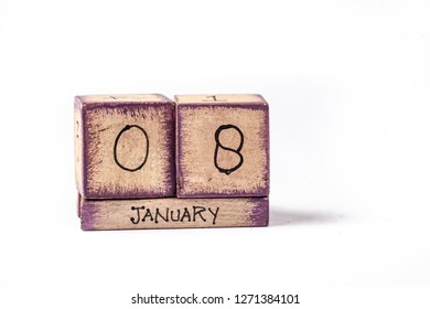 Colorful Wooden Block Perpetual Calendar Showing January 8th