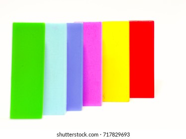 Colorful wooden blocks on white background , concept for next step. selective focus.