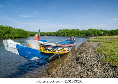 Colorful wooden boat or pirouge moored in mangrove forest of Sine Saloum Delta, Senegal, Africa