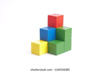 Colorful wooden building blocks.