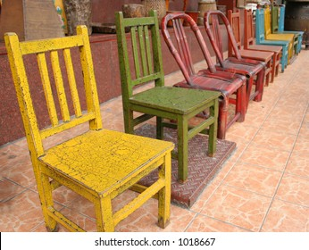 Colorful wooden chairs in Itaewon shopping area, Seoul, South Korea