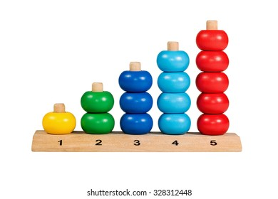 Colorful wooden children toy scores from one to five figures of the colored rings isolated on a white background