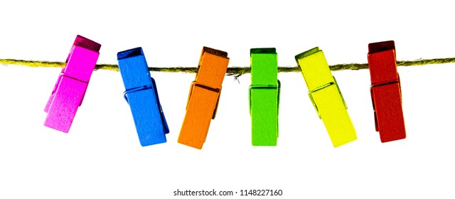 colorful wooden clothes pin isolated on white background