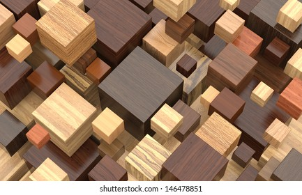 Colorful wooden cubes.