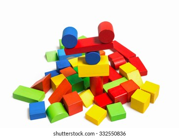colorful wooden cubes on white background