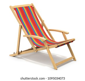 Colorful wooden deck chair on white background - 3D illustration
