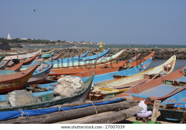 Colorful wooden fishing boats in Southern India