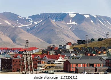 Colorful wooden houses along the road in summer in Longyearbyen, Svalbard.