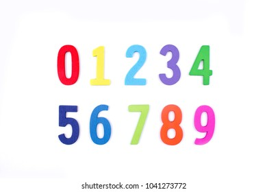 Colorful wooden letter of the alphabet number isolated on white background