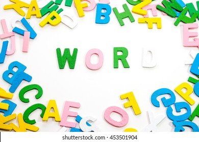 colorful wooden letter with white background