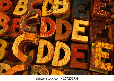 Colorful wooden letters, background
