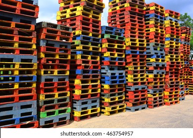 Colorful wooden pallets