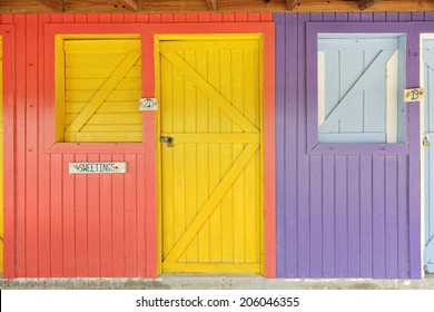 Colorful wooden shops in Bannerman Town, Eleuthera, Bahamas, Caribbean
