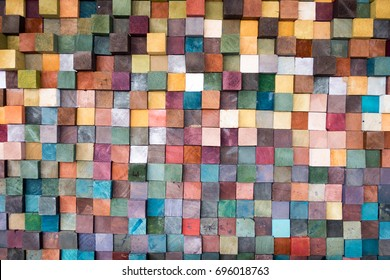 Colorful wooden squares wallpaper
