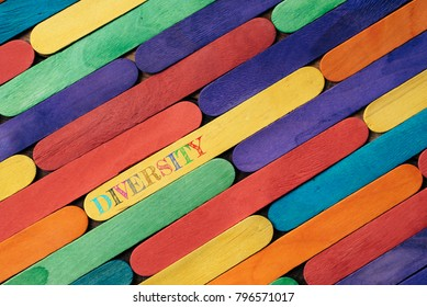 Colorful wooden stick with DIVERSITY word. diversity concept