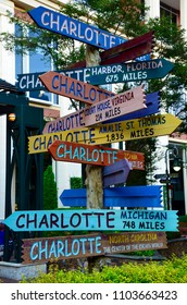 Colorful wooden street signs in Charlotte in North Carolina