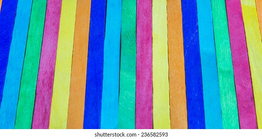 Colorful wooden stripe on vertical