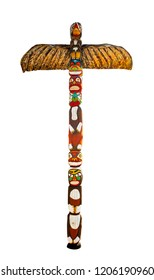 Colorful wooden totem pole. Isolated on white background. Path included.