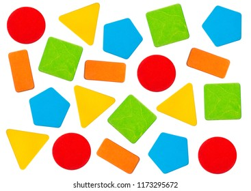 Colorful wooden toy blocks in geometric shapes. Orange rectangle, green square, red circle, yellow triangle and blue pentagon on white background.