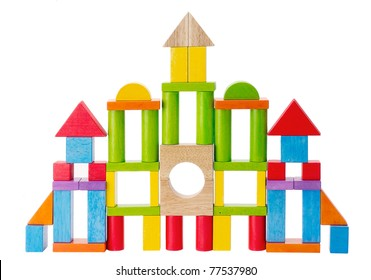 Colorful wooden toy castle isolated