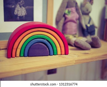colorful wooden toy rainbow. Waldorf