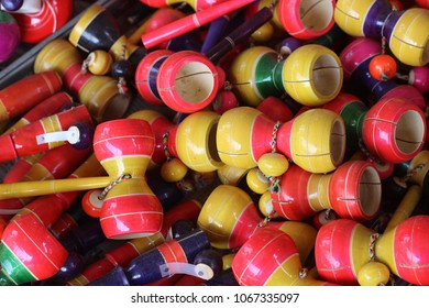 colorful wooden toys, Indian Toys, Damru.