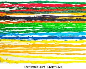 colorful woolen threads closeup