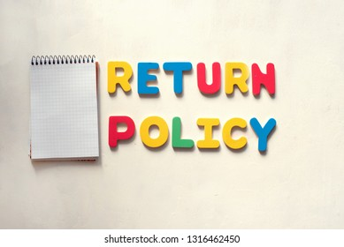 Colorful words Return Policy. Conceptual photo