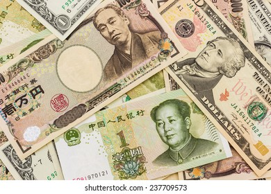 Colorful of World banknotes background,dollar,J apanese Yen,Chinese yuan banknotes.