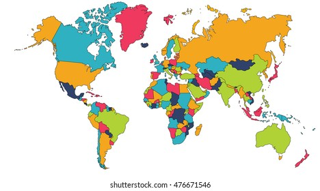 World map europe asia north america stock illustration 471039776 colorful world map europe asia north america south america africa gumiabroncs Images