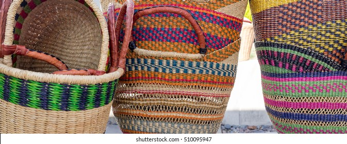 Colorful woven shopping baskets from Ghana