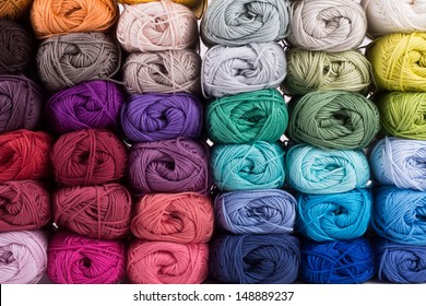 colorful yarn isolated on white background