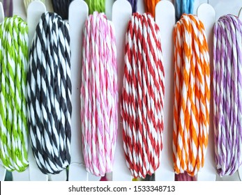Colorful yarns traditionally.Colorful striped rope background.