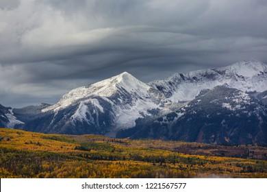 Colorful yellow autumn in Colorado, United States. Fall season.