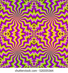 Colorful zigzags (spin illusion). Seamless pattern.