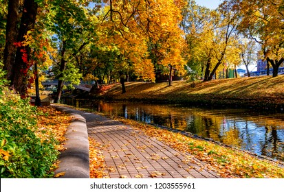 Colorfull autumn in central public park of Riga - capital of Latvia and famous tourist place in Baltic region