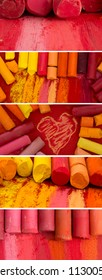 colorfull banners made of red artistic crayons