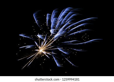 Colorfull blue firework on a black background