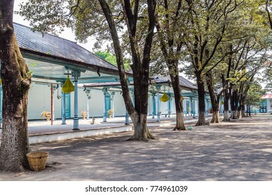 Colorfull blue Palace of the sultan in Surakarta, Java, Indoensia