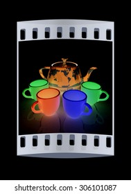 colorfull cups and teapot for earth. Globally. Drink for the entire planet.Concept of communication. The film strip