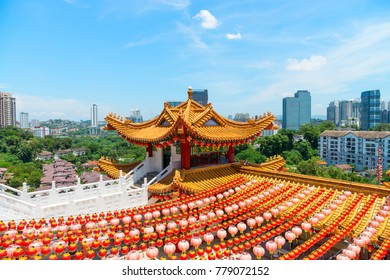 Colorfull decorative tower with spectacular roofs, ornate carvings and intricate embellishments in chinese temple