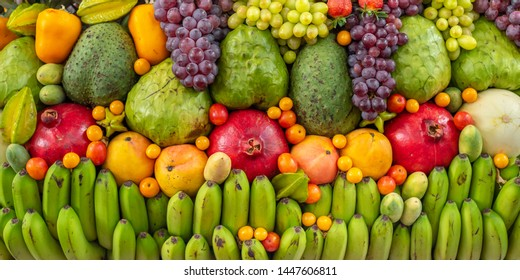 Colorfull display of mixed exotic fruits.