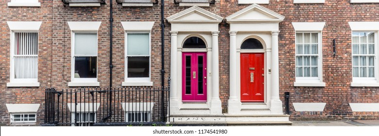 Colorfull doors in victorian old house in Liverpool, UK