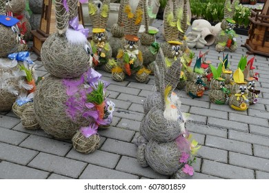 a colorfull easter decoration sold on a market