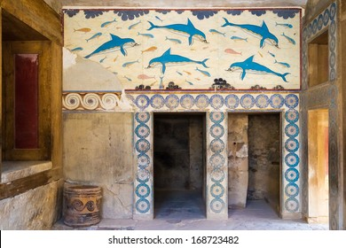 Colorfull frescoes at the well-preserved fountain building at the ancient site of Knossos at Crete - witness of the old minoan culture.