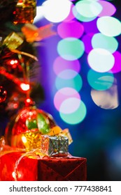 colorfull and lighting tree with gif box christmas day to soft focus blur bokeh background